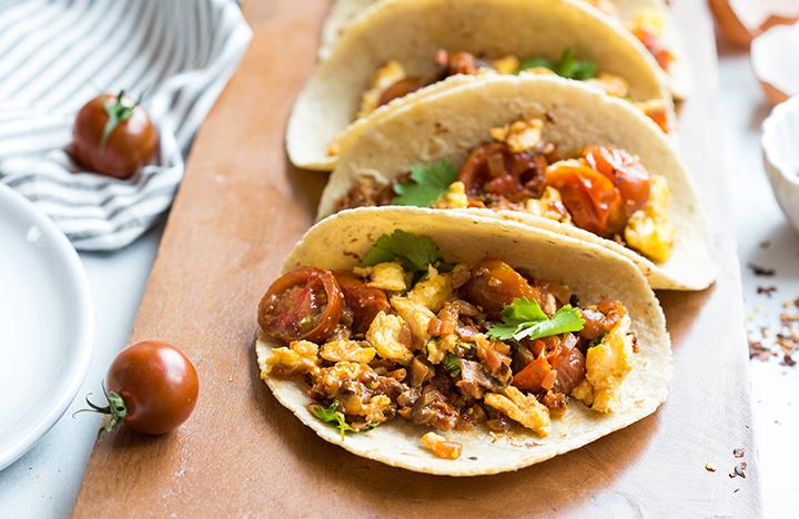 sautéed tomato & chorizo skillet breakfast tacos