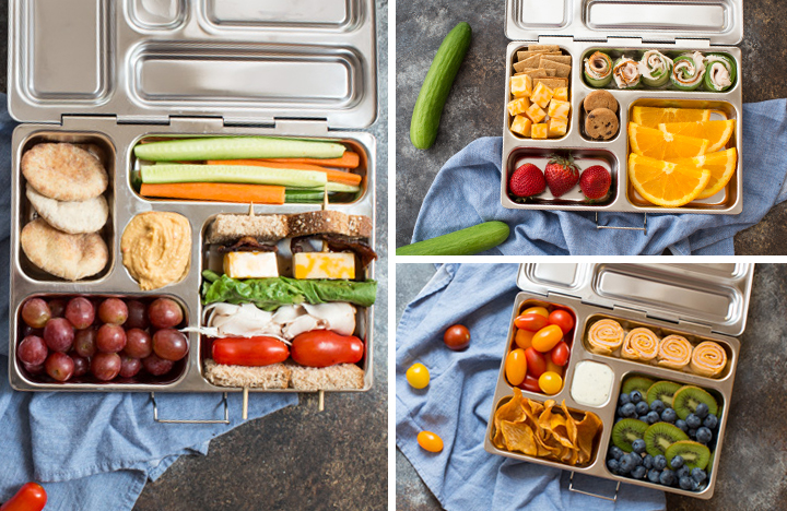 Healthy lunch boxes 3 ways