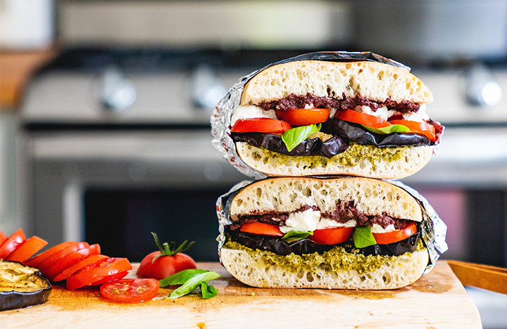 Tomato & Grilled Eggplant Stacked Sandwich