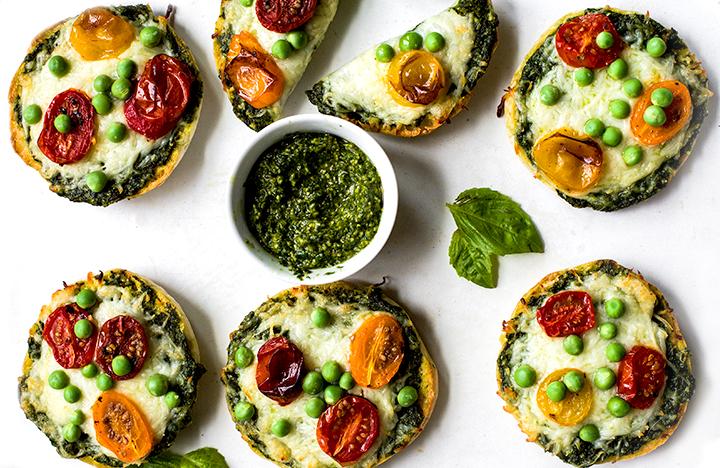 Green Monster English Muffin Pesto Pizzas